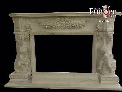 Monumental Cherub Hand Carved Estate Incredible Fireplace Mantel - Dj2000