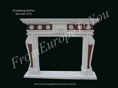 Hand Carved Marble Two Tone Fireplace Mantel Lm029