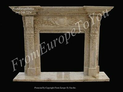Beautiful Hand Carved Travertine Marble Living Room Fireplace Mantel Mby309
