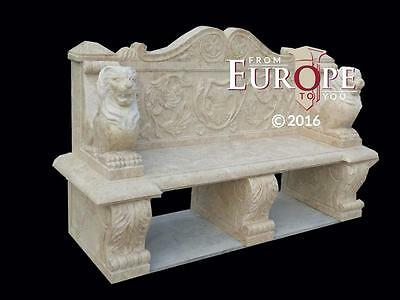 Beautiful Hand Carved Antique Stone Victorian Style Estate Garden Bench - Mb54