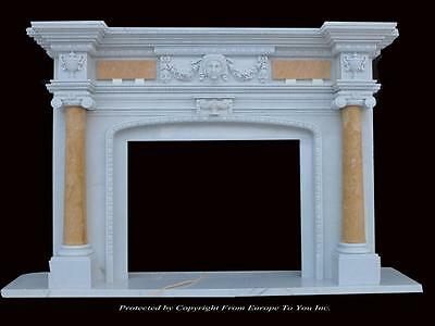 Beautiful Hand Carved Marble European Design Marble Figural Fireplace Mantel