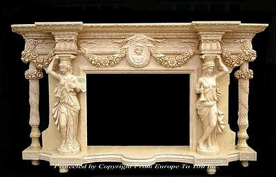 Hand Carved Monumental Estate Figural Marble Fireplace Mantel - Mfp98