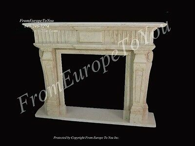 Hand Carved Solid Marble Fireplace Mantel #12
