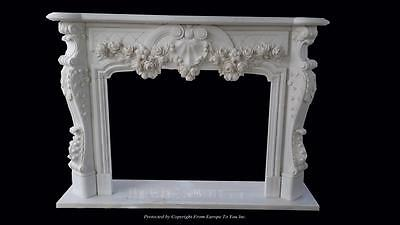 Beautiful Hand Carved Marble Floral  Fireplace Mantel - Jx1