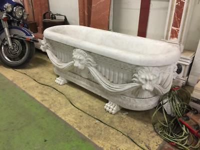 The Best Hand Carved Marble Lion Faced Bird Bath Or Flower Planter -