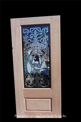 Custom Hand Made Bull Dog Stained Glass Entry Estate Door - Cd1