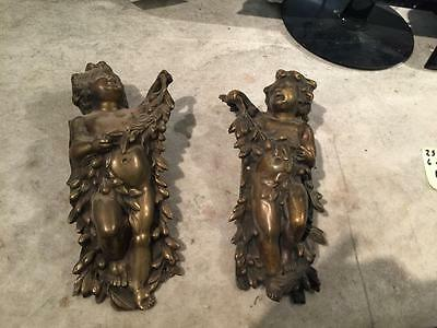 Beautiful Pair Of Italian Antique Bronze Vintage Cherubs - 14It045D