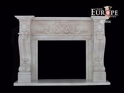 Beautiful Solid Hand Carved Estate Marble Fireplace Mantel -Mnt542