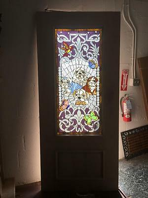 "Beautiful 36"" X 80"" Custom Solid Mahogany Stained Glass Door With Dogs"