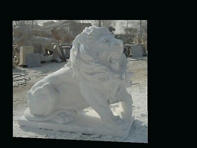 Great Hand Carved Roaring Marble Estate Lions Ln36