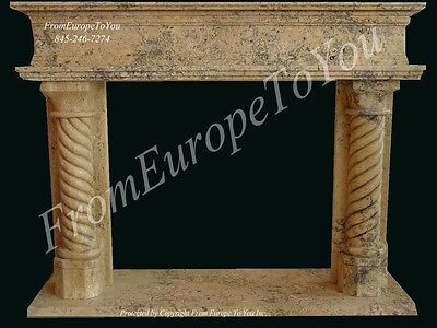 Hand Carved Travertine Marble Fireplace Mantel Tz6