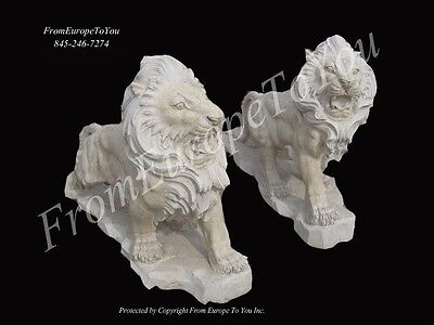 Nice Hand Carved Marble Roaring Travertine Lions