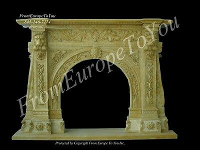 Wonderful Hand Carved Marble Fireplace Mantel