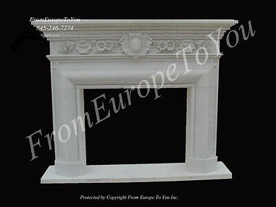 Beautiful Hand Carved Marble Classical Fireplace Mantel