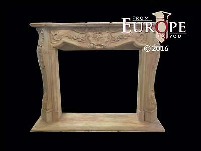 Beautiful Large Hand Carved Marble Estate  French Style Fireplace Mantel - Jd605