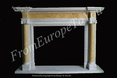 Hand Carved Solid Marble Classical European Style Fireplace Mantel - Mbz143