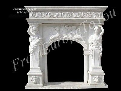 Great Figural Large Hand Carved Marble Fireplace Mantel