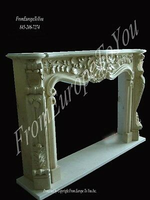 Beautiful Hand Carved Solid French Style Marble Fireplace Mantel -Mbf113