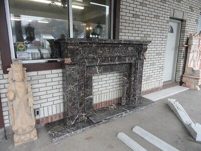 Solid Hand Carved Marble Coffee Black Fireplace Mantel Mby125