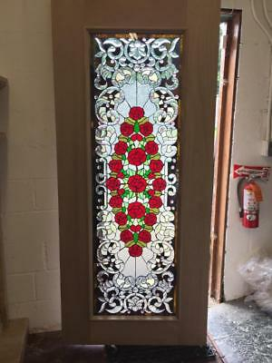 Custom Stained Glass Door With Roses And Mahogany Wood - An7