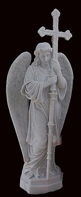 Hand Carved Marble Standing Angel With Cross