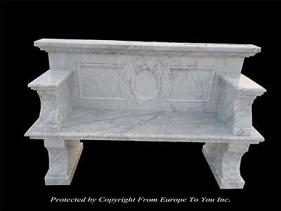 Beautiful Carrara Marble Hand Carved Estate Garden Bench - Cb49