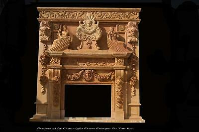 Monumental  Hand Carved Estate  Marble Figural Fireplace Mantel Zh1