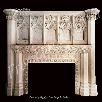 Monumental Hand Carved Gothic Limestone Fireplace Mantel - Gfp1