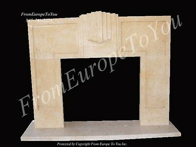 Art Deco Hand Carved Marble Fireplace Mantel Mby153