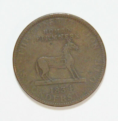 1834 US Hard Times The Constitution As I Understand It Large Size Copper Token