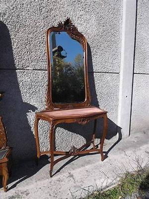 Italian Louis Xvi Style Walnut Original Antique  Hall Stand - Mirror - 13It076A
