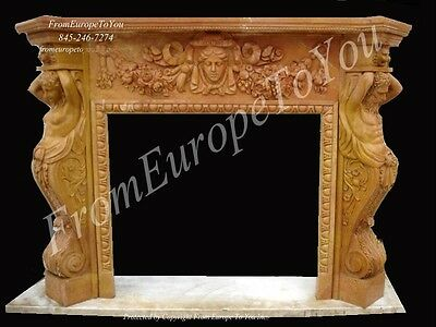 Great Carved Figural Marble Estate European Style Fireplace Mantel - Mbf40