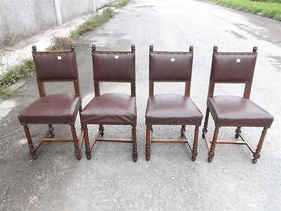 4 Carved Victorian Dining Room Chairs - Italian Antiques - Furniture - 14It043D