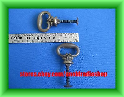 Pair Antique Solid Brass Drawer Pulls Handles Furniture GOTHIC small oval shape