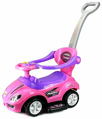 Deluxe Mega 3 in 1 Car Children's Toy Stroller & Walker Pink w/ Working Horn!!