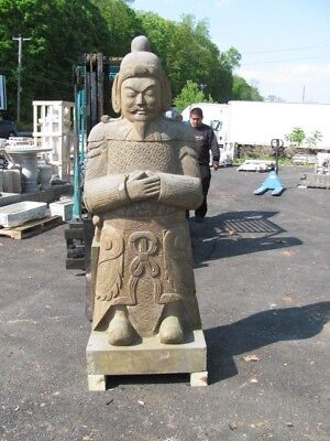 Great Large Carved Stone Warrior Standing Statue - As68