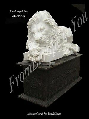 Great Pair Of Hand Carved Marble Sleeping Lions On Base