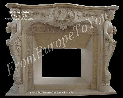 Figural Hand Carved Marble Fireplace Mantel Fgd056