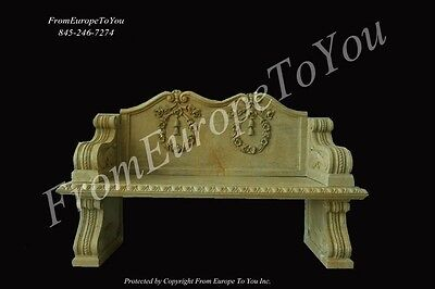 Classical Marble Hand Carved Garden Bench