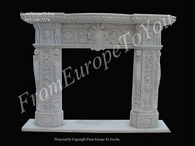 Beautiful Hand Carved Marble Estate Living Room Fireplace Mantel Fpm202