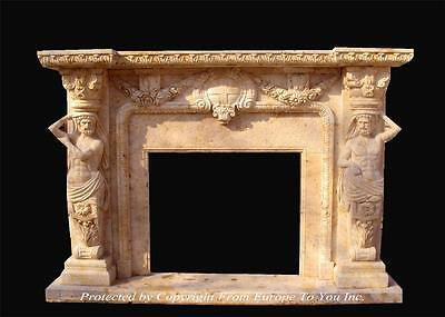 Incredible Hand Carved Travertine Marble Estate Figural Fireplace Mantel - Yfo26