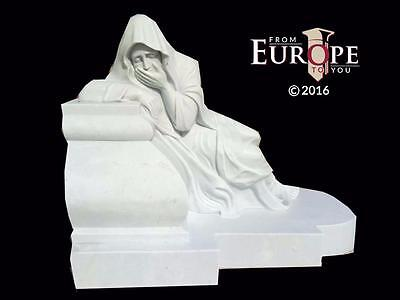 Beautiful Hand Carved Marble Praying Lady In Mourning Religious Statue - Jz45