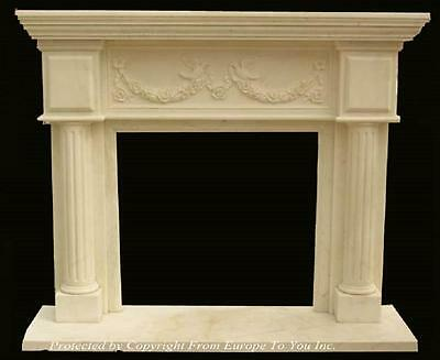 Beautiful Hand Carved Marble Estate Fireplace Mantel - Jd46
