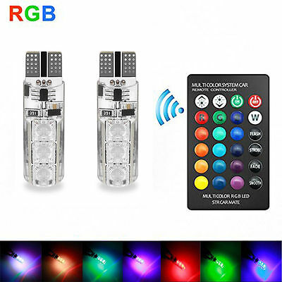 Remote Control T10 5050 Car Led Bulb 6 Smd  Multicolor W5W 501 Side Light Bulbs