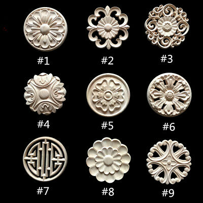 Round Wood Carved Applique Frame Onlay Cabinet Furniture Decoration Unpainted