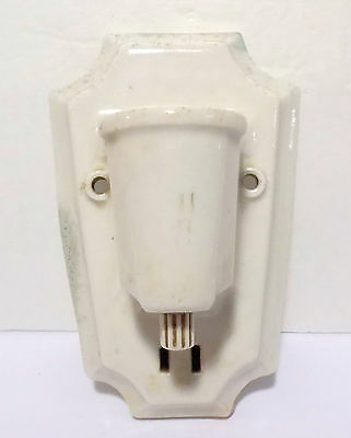 Vintage Art Deco White Porcelain Bathroom Wall Sconce with Outlet