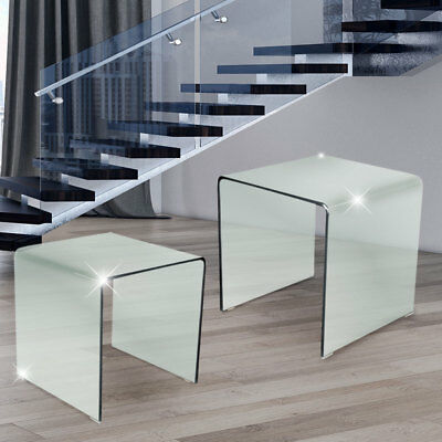 Glass Side Table 2 parts Living Room Dining Room DESIGN Night table extendable