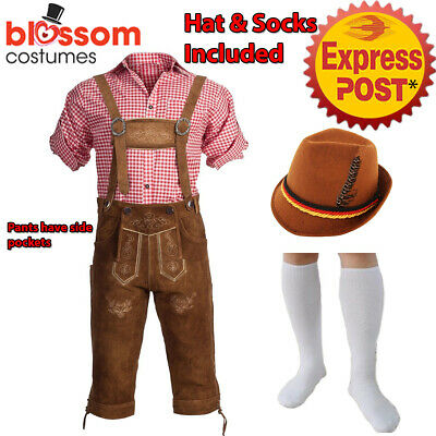 K408 Authentic German Bavarian Suede Lederhosen Oktoberfest Beer Men Costume Hat