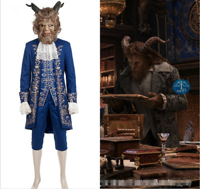 Beauty and the Beast Prince Adam Mask Cosplay Costume Ball Gown Fancy Dress New