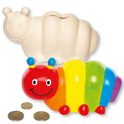2 Caterpillar Ceramic Coin Banks for Children to Paint - Creative Kids Craft Set